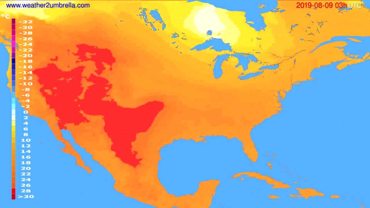 Temperature forecast USA & Canada // modelrun: 00h UTC 2019-08-06