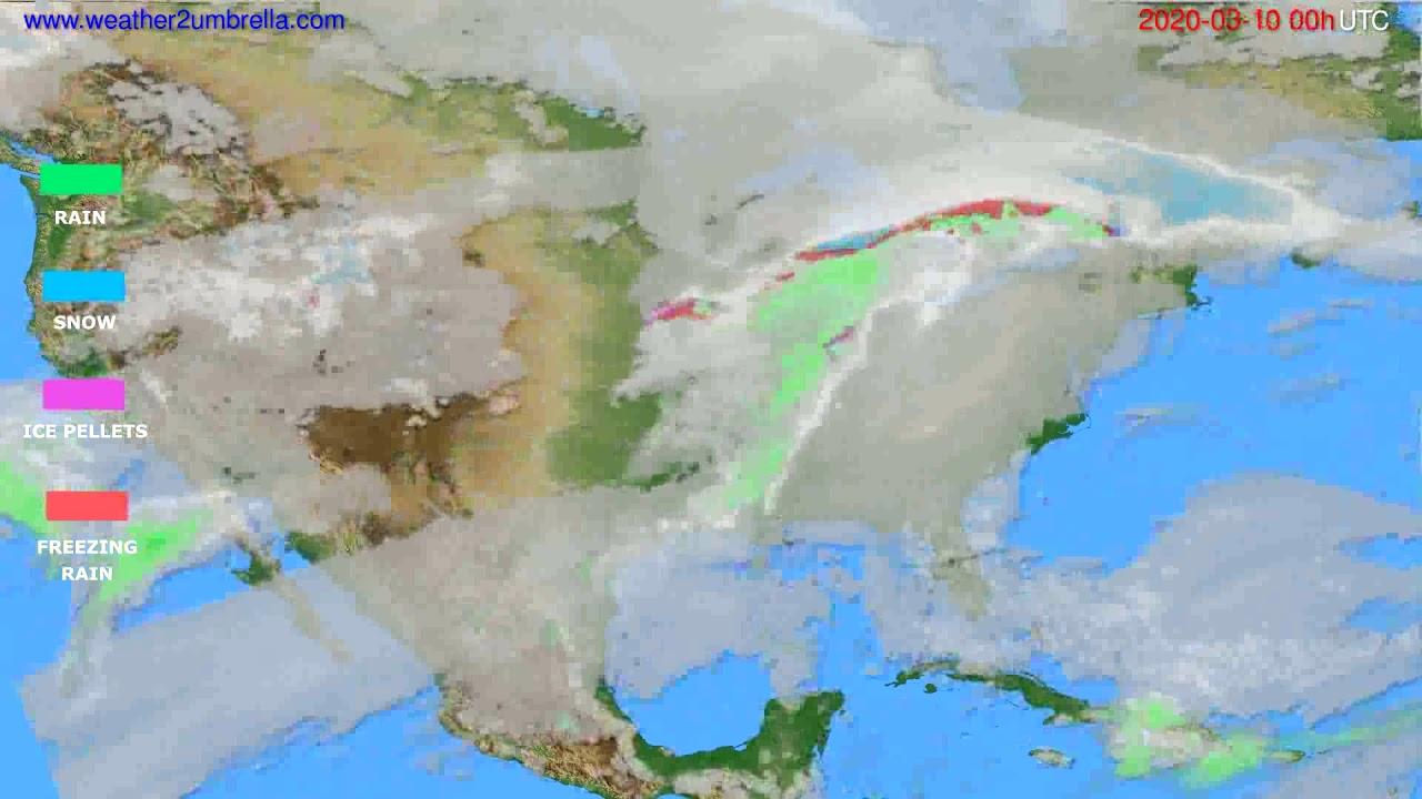 Precipitation forecast USA & Canada // modelrun: 00h UTC 2020-03-09