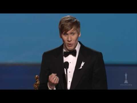 milk - Tina Fey and Steve Martin presenting Dustin Lance Black with the Oscar® for Best Original Screenplay for