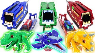 Video Dino Mecard Green, Blue, Red Car Shooter! Capture and Tiny dinosaurs fire!! - DuDuPopTOY MP3, 3GP, MP4, WEBM, AVI, FLV Desember 2017