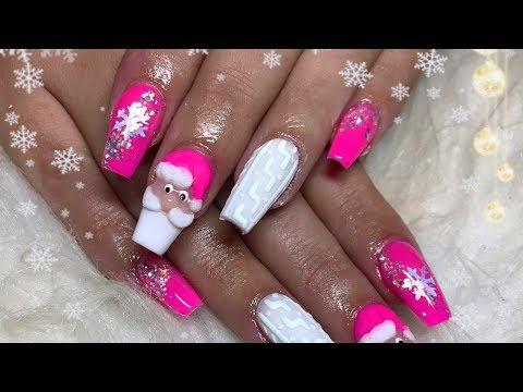 Acrylic nails - Pink santa acrylic nail design