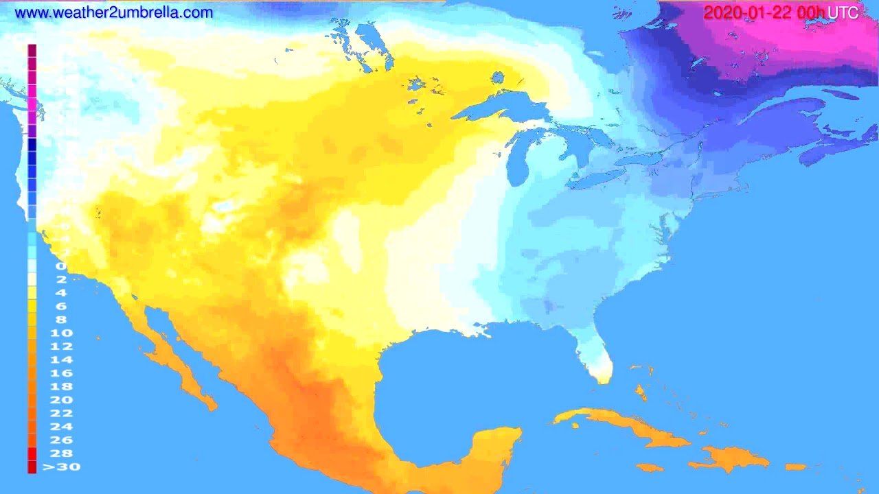 Temperature forecast USA & Canada // modelrun: 00h UTC 2020-01-21
