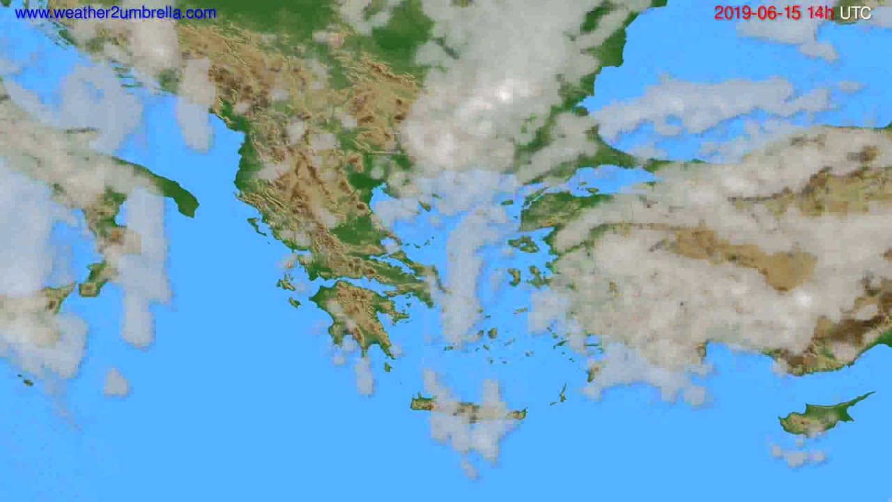 Cloud forecast Greece // modelrun: 12h UTC 2019-06-13