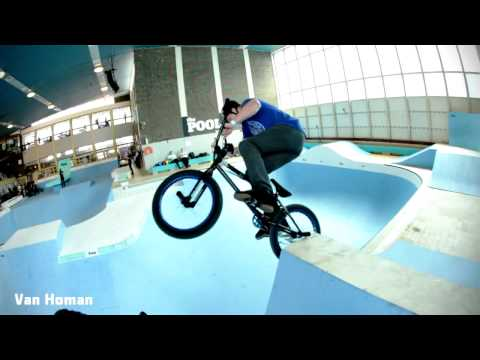 Indoor neighborhood pool turned into huge BMX park