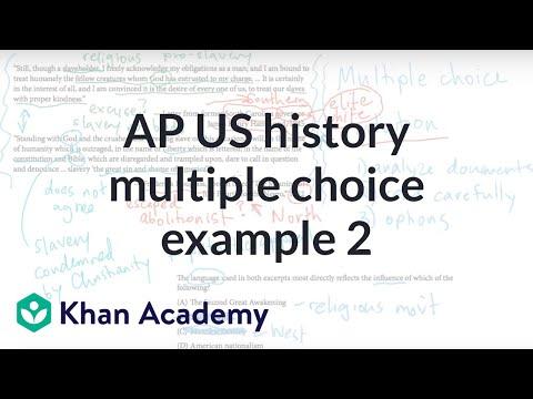 AP US History Multiple Choice Example 2 Video Khan Academy