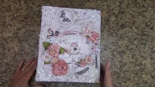"SOLD!  Large mini album scrapboook album for sale at J&S Hobbies and Crafts made by Shellie Geigle.  https://jshobbiesandcrafts.com/?product_cat=mini-albums-crafts   using Prima Rose Quartz paper collection, die cuts, and flowers.  Also used were Heartfelt creations dies.  Mini album is 8-1/2"" wide x 10-1/2"" tall with a 3-1/2"" spine width.  You'll find page after page of fun scrapbook layouts, pockets, waterfall and more."