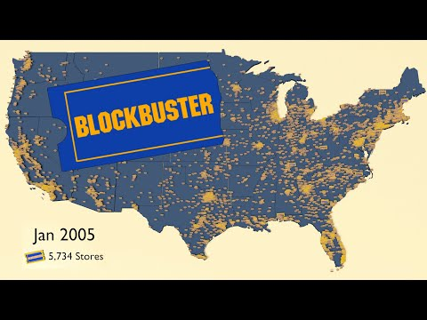 Map of the Rise and Fall of Blockbuster Video