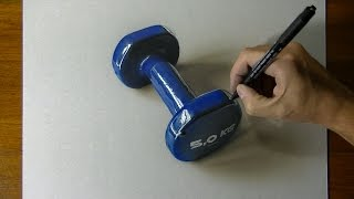 Drawing my blue dumbbell 3D Art