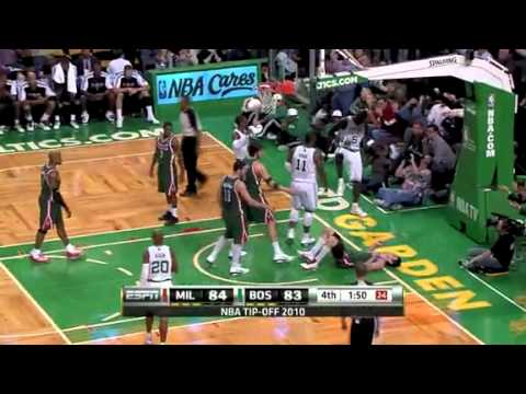 Bucks vs. Celtics - Bogut and Garnett Fight