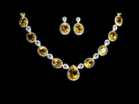 Lady's 14k Yellow Gold 34ct (TW) Citrine and Diamond Necklace and Earrings Set