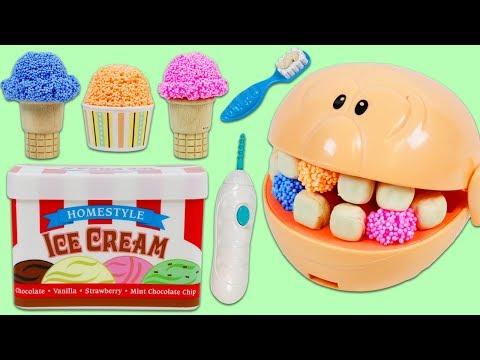 Feeding Mr. Play Doh Head Play Foam Ice Cream and Visiting the Dentist!_Fogorvosi rendelőben. Legeslegjobbak