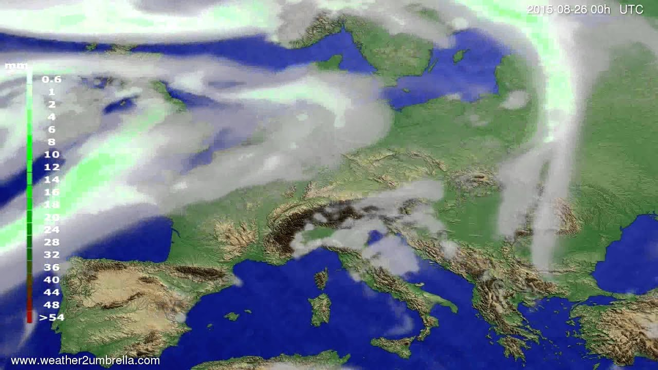 Precipitation forecast Europe 2015-08-23