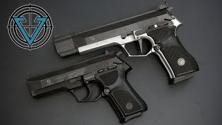 The Vektor SP1 was the South African company's upgraded version of their previous Beretta 92FS clone, the Z88. The General's Model is compact and ideal for defensive use, while the Target variant is an excellent range gun, featuring an SAO trigger and extreme accuracy due to a clever bushing system.