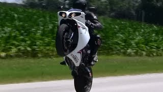10. Crossplane YZF-R1 and Yamaha FZ1 Clutch Wheelie Practice Compilation Full HD 1080p