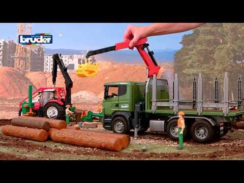 camion scania - Info: www.bruder.de/03524 DEUTSCH: -- SCANIA R-Serie Holztransport-LKW mit 3 Baumstämmen -- Die Forstwirtschaft erlebt seit Jahren eine Renaissance aufgrund ...