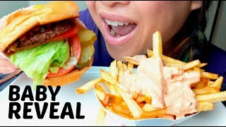 IN N OUT ANIMAL STYLE CHEESEBURGER + FRIES + BABY REVEAL Delivery Story time ASMR 먹방 suellASMR