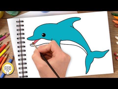 Hướng dẫn cách vẽ CON CÁ HEO - Tô màu con cá Heo - How to draw Dolphin