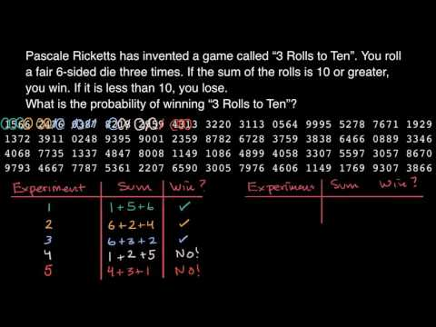 random numbers for experimental probability (video) khan academy