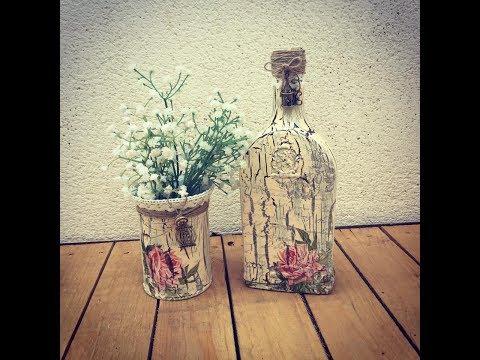 bottiglia decorata con decoupage ed effetto cracklè
