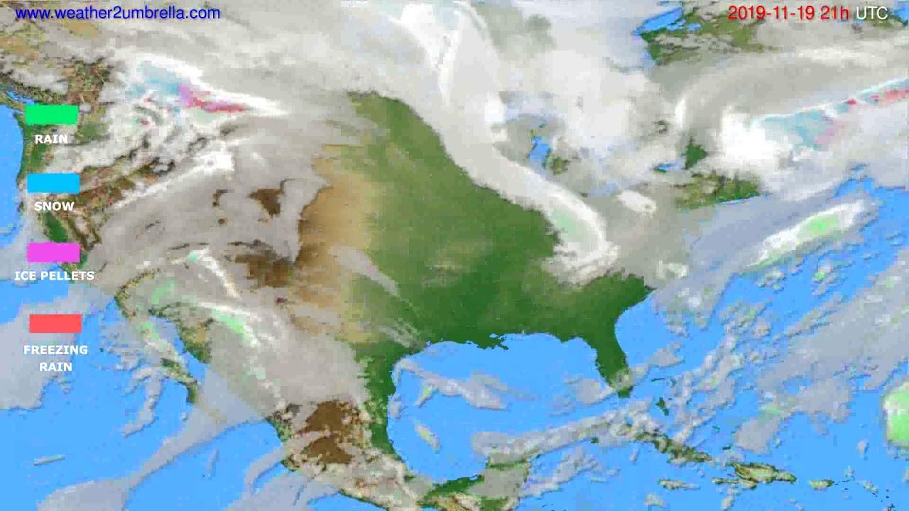 Precipitation forecast USA & Canada // modelrun: 12h UTC 2019-11-18