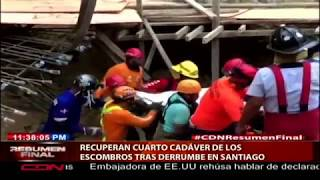 Recuperan cuarto cadáver de los escombros tras derrumbe en Santiago