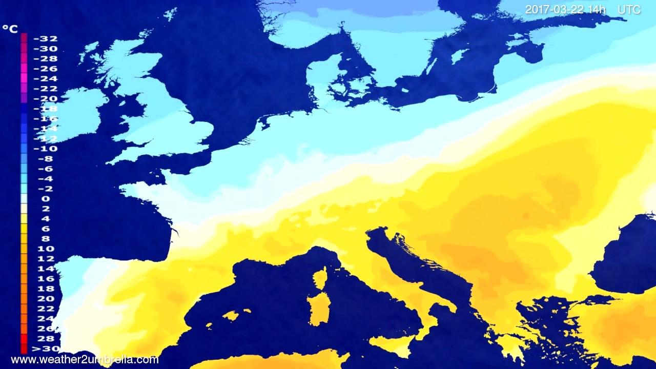 Temperature forecast Europe 2017-03-18