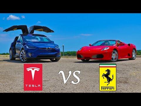 Tesla's Model X SUV taking on a Ferrari F430 in a drag race