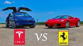 Tesla Model X P90D kontra Ferrari F430! Krótki wyścig na odcinku prostym!