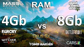 4 vs 8Gb RAM Test in 8 Games (GTX 1060 + i5 7600k)Games:The Witcher 3Battlefield 1 - 01:35Mass Effect Andromeda - 03:04Deus Ex Mankind Divided - 04:14Grand Theft Auto V - 05:54Rise of the Tomb Raider - 06:47Project Cars - 07:55Far Cry Primal - 09:21System: Windows 10Intel i5 7600k 4.5GhzGTX 1060 6Gb4/8Gb RAM Kingston DDR4-2400Mhz