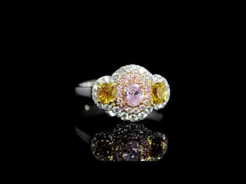 經GIA鑑定18K白/玫瑰金粉紅鑲橙黃鑽石戒指