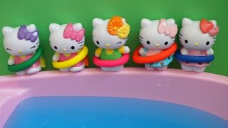 Five Hello Kitty Jumping on the bed compilation - Jumpingonthebed Water Pool Swiming Nursery Rhymes