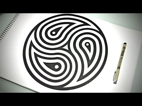 How To Draw Mandala   3 Fish in A Pond ☯