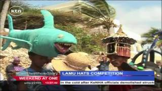 Local youths take part in a rare contest, hat making competition in Lamu