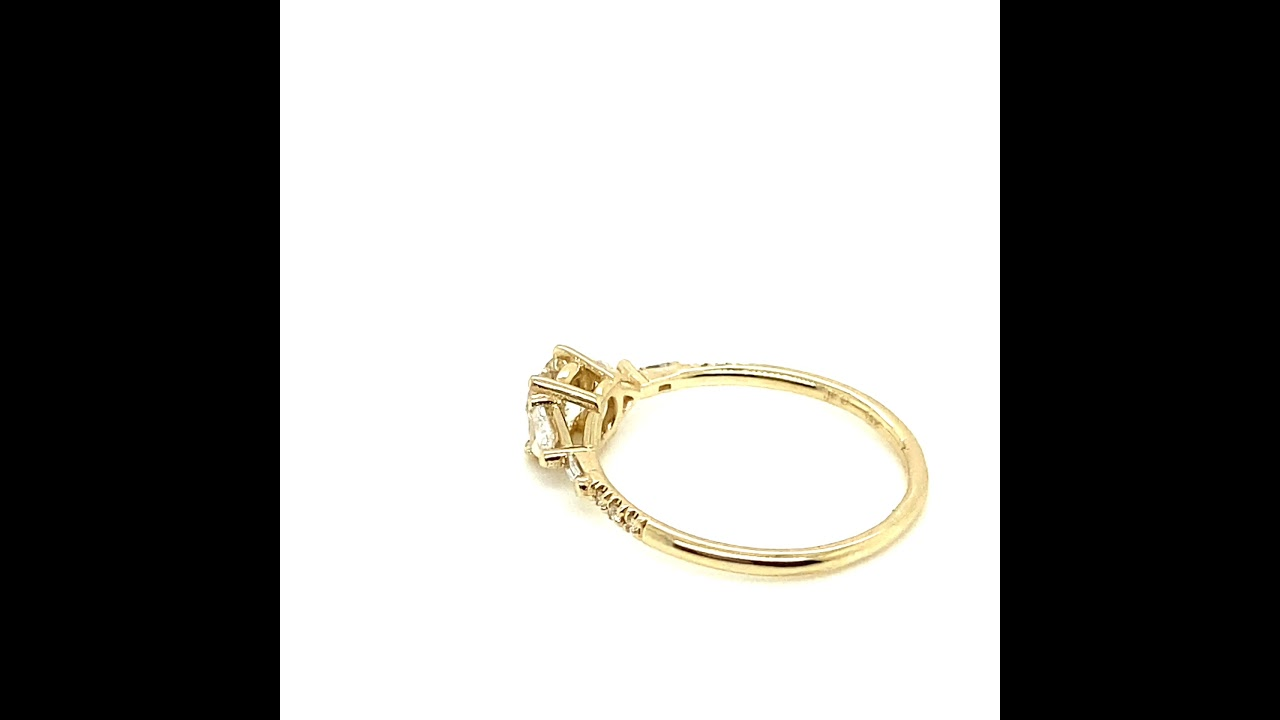 Round and Trillion Diamond Engagement Ring