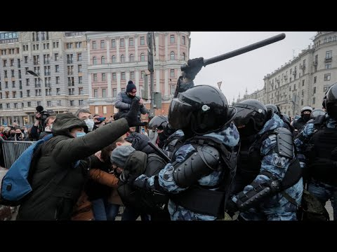 Clashes as hundreds arrested at pro-Alexei Navalny protests – including his wife