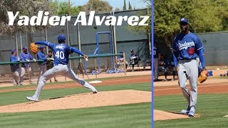 "Top Dodgers' pitching prospect Yadier Alvarez pitches in a minor-league game at Camelback Ranch during Spring Training on March 24, 2017. He faced Arizona League, Low-A and High-A level players. The 21-year old Cuban right-hander is listed at 6'3"" and 180 lbs. He was the Dodgers' $16 million top biller in the 2015/2016 international free-agent class. Last year in his first season in the Dodgers' organization, he went 4-3 with a 1.80 ERA and 12.3 K/9 in 59 1/3 innings between Rookie-Level and Low-A Great Lakes. Alvarez's fastball is electric, and it was a treat seeing him pitch live at Camelback Ranch. Read me at http://dodgersdigest.com/author/staci...  and  http://www.hardballtimes.com/author/s...Follow me @StacieMWheeler on Twitter https://twitter.com/StacieMWheelerSubscribe to DishingUpTheDodgers!Go Blue!"