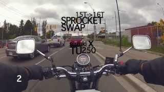 7. 2013 Suzuki TU250X Sprocket Swap Test