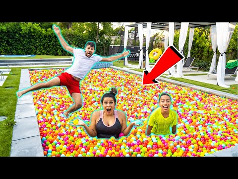 WE FILLED our ENTIRE POOL with PLASTIC BALLS!! | The Royalty Family