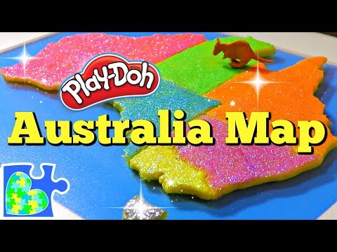 Play doh - Map of Australia for Kids! Learn about Australia: Amazing Play-Doh Puzzle of the Country!