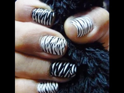 tutorial decoracion  uñas facil (Animal print cebra)
