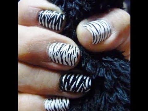 tutorial decoracion  uñas facil (Animal print cebra)