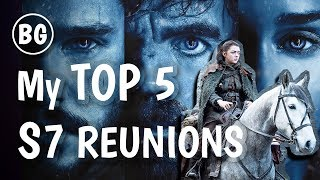 These are my TOP 5 character reunions I want to see happen in Game of Thrones Season 7 and I also tell you what I think will happen if they do meet!----- SUPPORT THE CHANNEL!!! -----Patreon - http://bit.ly/1OghO0JBecause Geek merch! - http://shrsl.com/?~c4o0Amazon US - http://amzn.to/1TvaoIyAmacon CA - http://amzn.to/1VLY1xZShop on Massdrop! - http://bit.ly/2rNL8HZ----- IN COLLABORATION WITH -----Steve Love (DrSteveLove) Channel: https://www.youtube.com/channel/UCNBRe1r8AnCLhfnnl5pFFCgJon Snow's First Drivehttps://www.youtube.com/watch?v=cxgkg8cMM5M----- PODCAST -----https://www.youtube.com/c/TheSideEffectPodcast----- MUSIC -----Background Music - http://tinyurl.com/zg9y3bb----- CONNECT WITH ME -----Twitter - https://twitter.com/BecauseVal_Facebook - https://www.facebook.com/BecauseGeekInstagram - https://instagram.com/becausegeekSnapchat - becausevalWebsite - http://becausegeek.comGaming Channel - https://www.youtube.com/user/valkarii