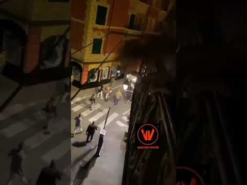 Brawl of Italians on the street, in the Liguria region of Italy, boy hit by a car