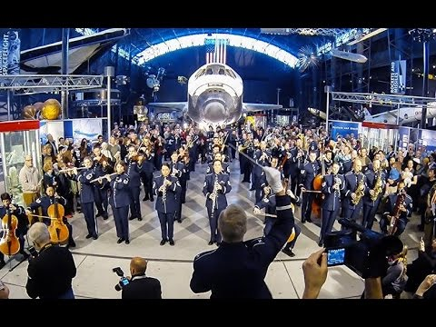 flash mob - The USAF Band Holiday Flash Mob 2014 at the Smithsonian's National Air and Space Museum, Steven F. Udvar-Hazy Center. http://www.usafband.af.mil http://www.f...