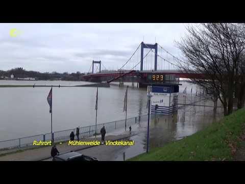 Hochwasser Rhein - Orsoy Baerl Ruhrort Homberg 2018 01 07 (видео)