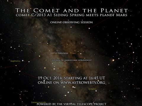 meets - Learn more here: http://www.virtualtelescope.eu/2014/10/09/comet-planet-comet-c2013-a1-siding-spring-meets-planet-mars-19-oct-2014-online-event/