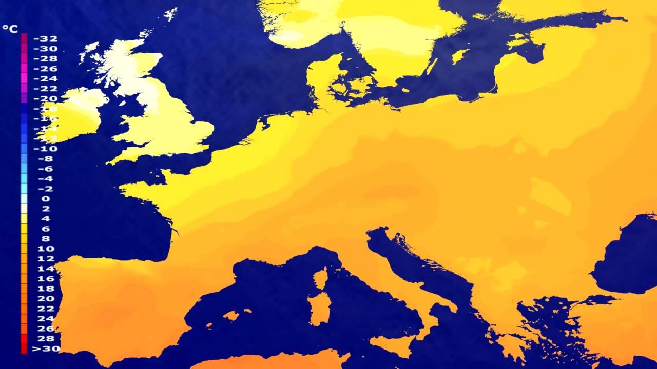 Temperature forecast Europe 2016-06-26