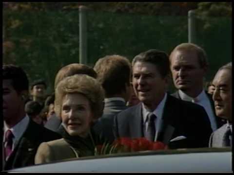 Trip to Japan. President Reagan having Tea with PM Nakasone on November 11, 1983