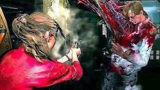 Resident Evil 2 Remake 4K-60FPS Claire Redfield & Leon Gameplay (Gamescom 2018)