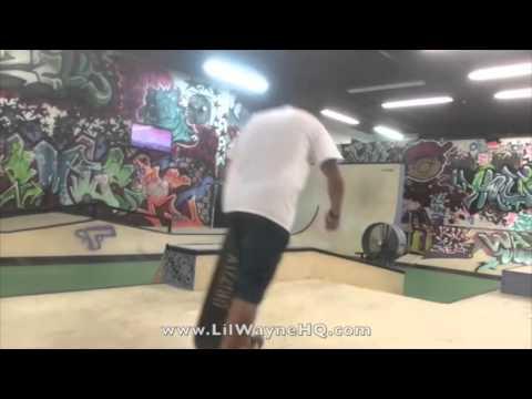Lil Wayne Hits Up His TRUKSTOP Skate Park For A Skating Session